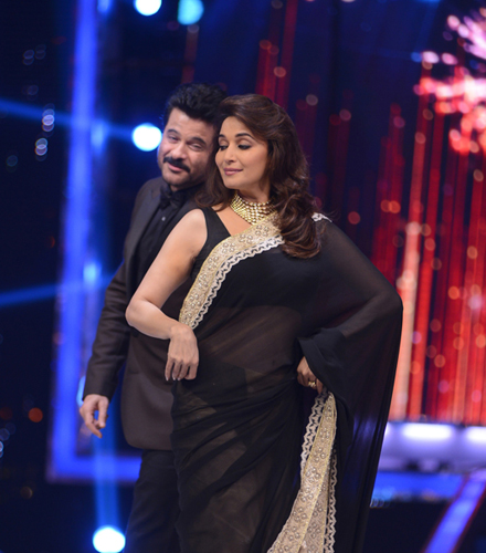 Anil Kapoor and Madhuri Dixit on the sets of Jhalak!