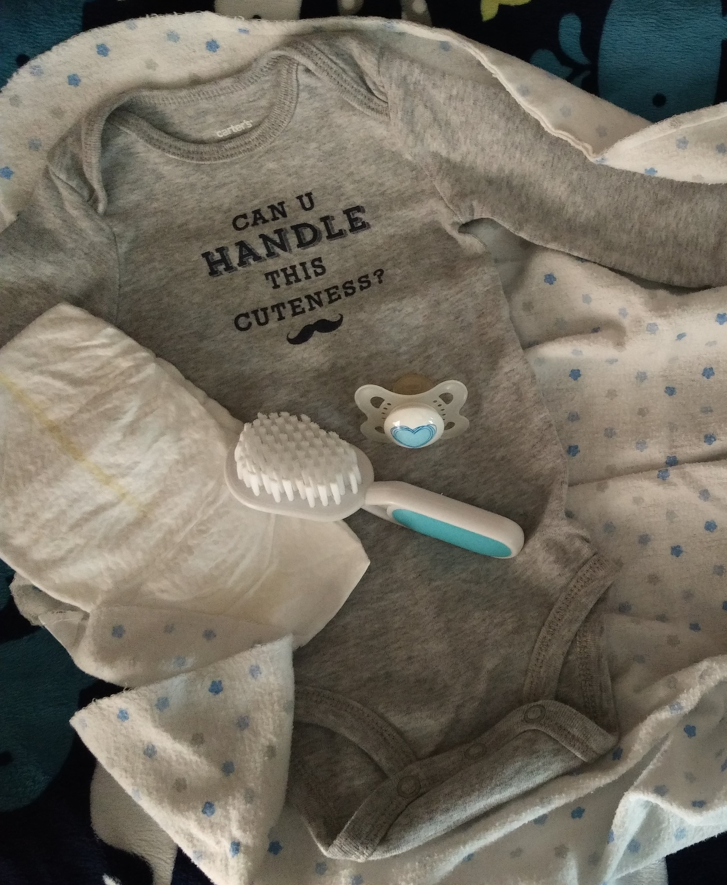 first time, mom, baby, onesie, pacifier, cute, brush, diaper