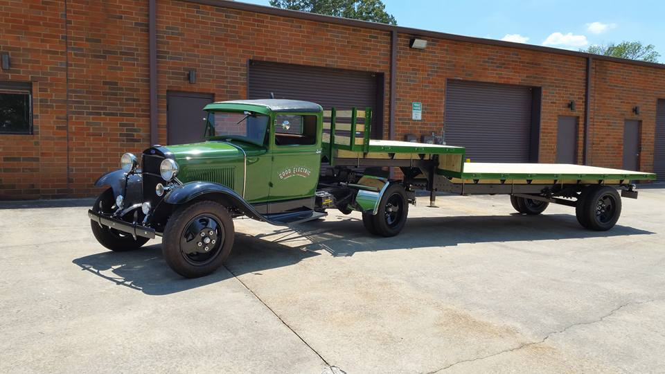 1930 Model A Ford semi tractor with flat bed trailer, Cindy Rhine photo.jpg