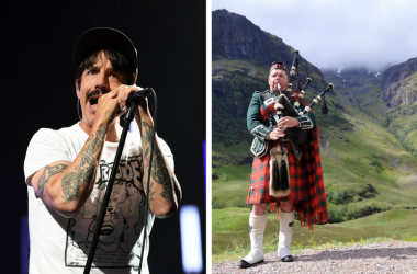 Anthony Kiedis and bagpiper