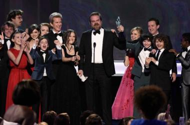 David Harbour speaks as cast members of Stranger Things (Netflix) accept the award for Outstanding Performance by an Ensemble in a Drama Series during the 23rd Annual Screen Actors Guild Awards