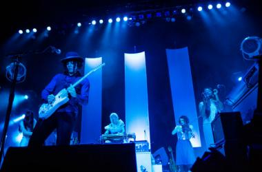 SEATTLE - AUGUST 14: Rock Star Jack White plays guitar on stage at WaMu Theater in Seattle, WA on August 14, 2012.