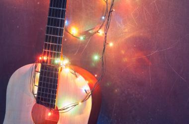 guitar + string lights