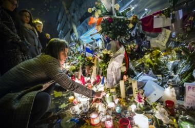 Flowers near theater Le Bataclan in tribute to victims of the Nov. 13, 2015 terrorist attack in Paris