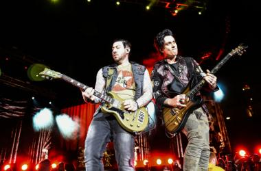 Zacky Vengeance and Synyster Gates of Avenged Sevenfold performs during Avenged Sevenfold's The Stage World Tour featuring Avenged Sevenfold, Volbeat and Motionless in White at Giant Center