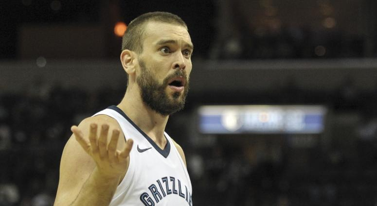 Memphis Grizzlies center Marc Gasol (33) reacts during the first half against the Minnesota Timberwolves at FedExForum.
