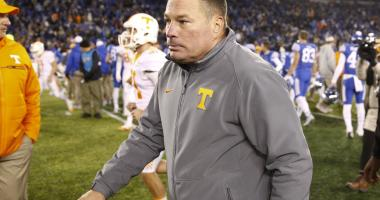 Tennessee Volunteers head coach Butch Jones walks off the field after the game against the Kentucky Wildcats at Commonwealth Stadium. Kentucky defeated Tennessee Volunteers 29-26. Mark Zerof-USA TODAY Sports