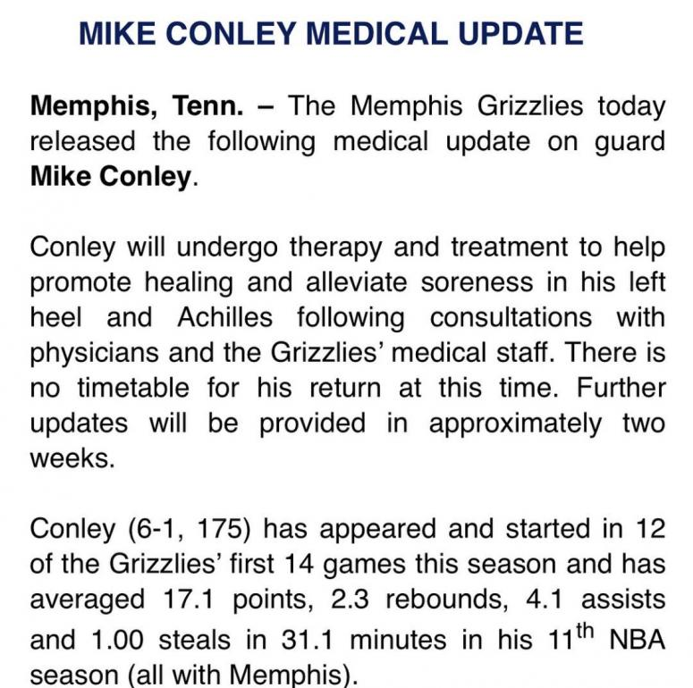 Mike Conley Medical Update