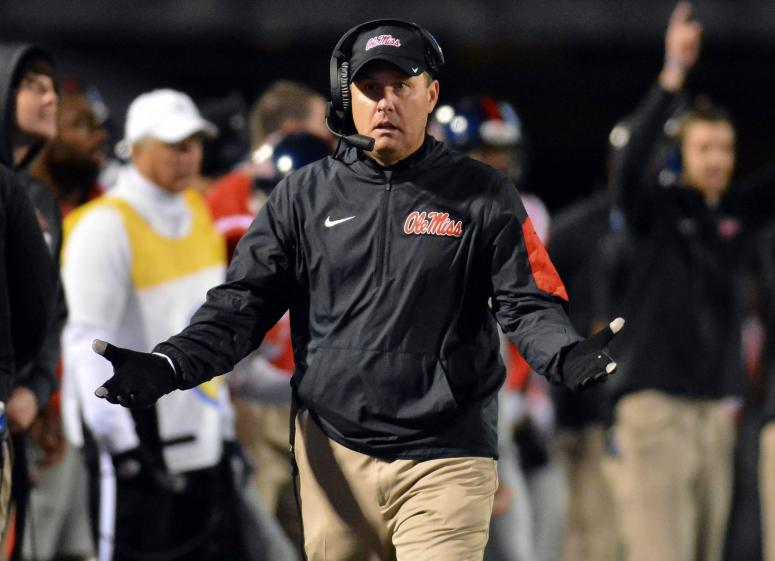 Nov 21, 2015; Oxford, MS, USA; Mississippi Rebels head coach Hugh Freeze reacts after a play during the third quarter of the game against the LSU Tigers at Vaught-Hemingway Stadium. Mississippi won 38-17.