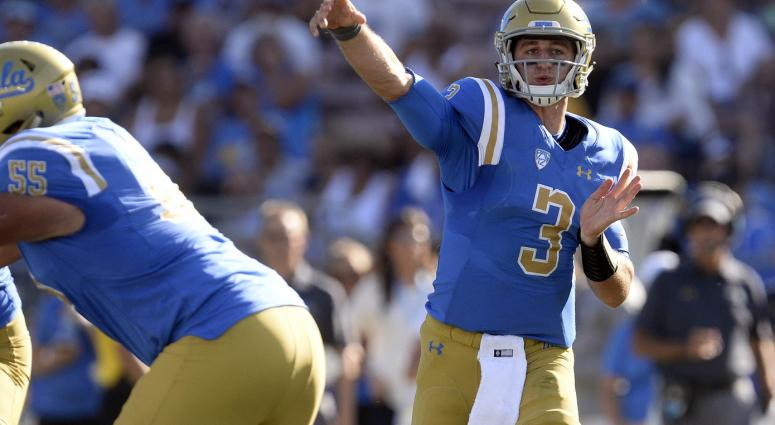 UCLA Bruins quarterback Josh Rosen (3) throws against the Hawaii Warriors during the second half at the Rose Bowl.