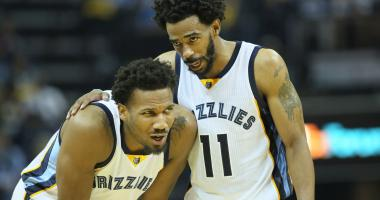 Memphis Grizzlies guard Mike Conley (11) talks to guard Wayne Selden Jr. (7) in the third quarter against the San Antonio Spurs in game six of the first round of the 2017 NBA Playoffs at FedExForum.