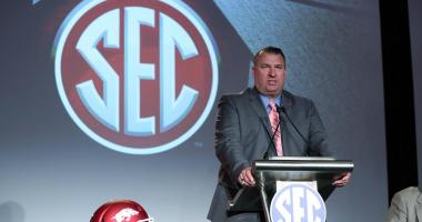 Arkansas head coach Bret Bielema speaks to the media during SEC media days at Hyatt Regency Birmingham-The Winfrey Hotel.