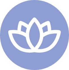 Lotus flower icon on purple circle background