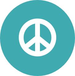 Peace symbol on blue circle background