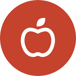 apple icon on red circle background