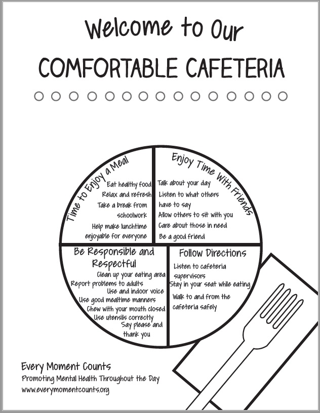 Comfortable Cafeteria Coloring Sheet (B&W)