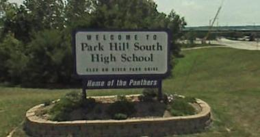 Sign at the entrance to Park Hill South High School