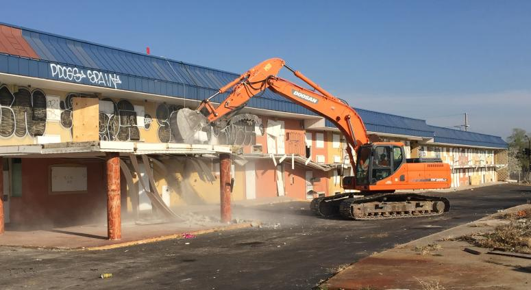 Demolition of an old hotel