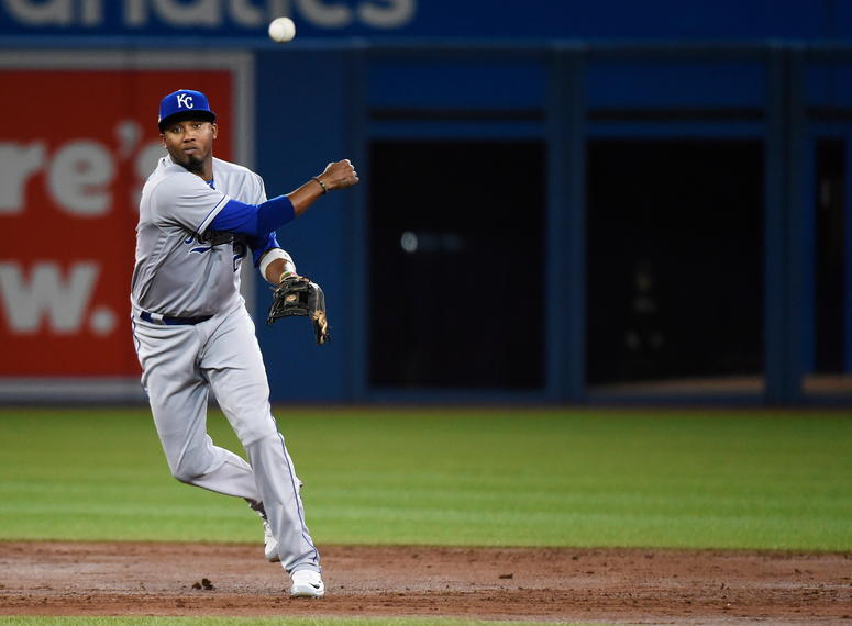 Kansas City Royals shortstop Alcides Escobar (2) throws to first base against the Toronto Blue Jays during the second inning of a baseball game in Toronto on Wednesday, April 18, 2018.
