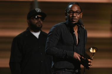 Kendrick Lamar accepts Best Rap Album during the 58th Grammy Awards