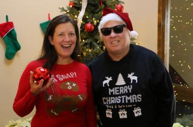 Jim & Teri in Ugly Christmas Sweaters