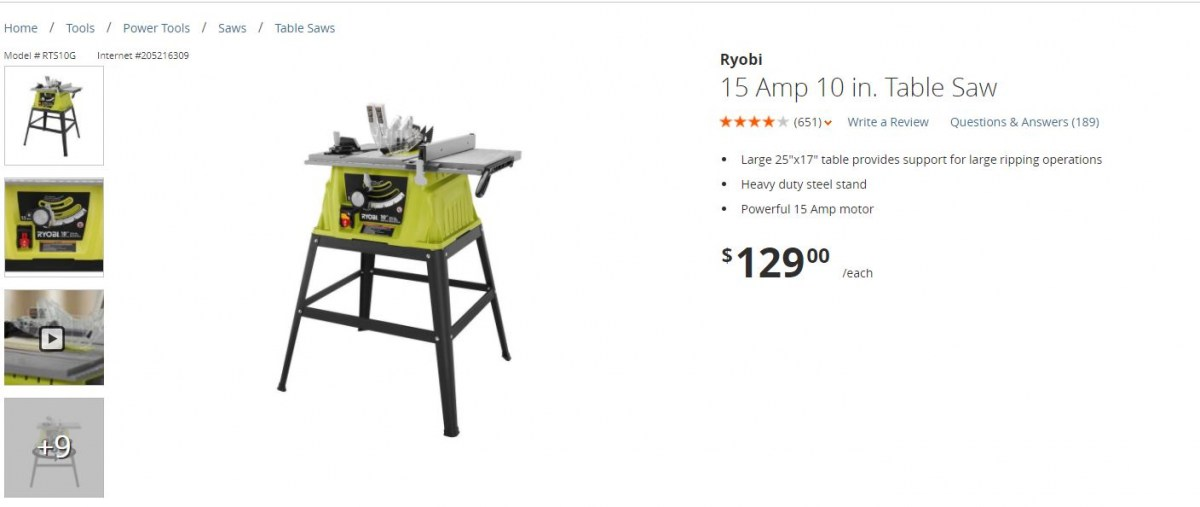 Ryobi 15 Amp 10 In. Table Saw With Stand?   Power Tools ...
