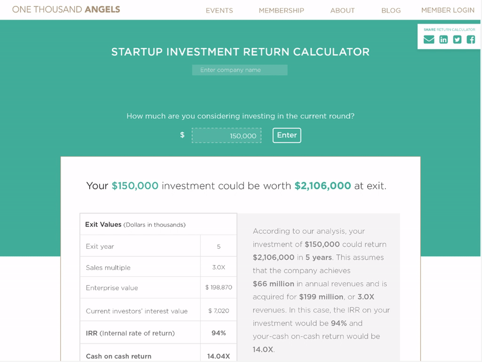 1000 Angels - Startup Investment Return Calculator