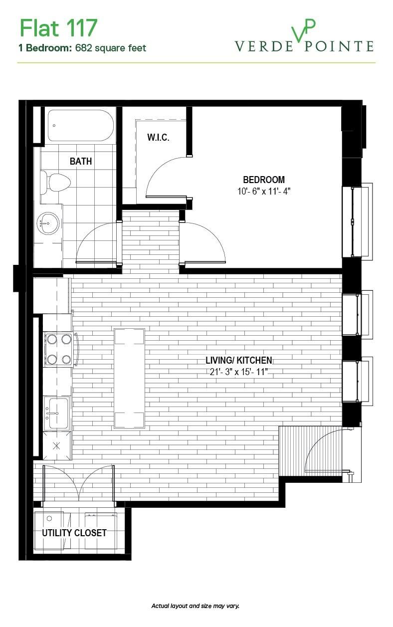 Verde Pointe - Flats -  1 bedroom - Flat 117 - 682 sq. ft.