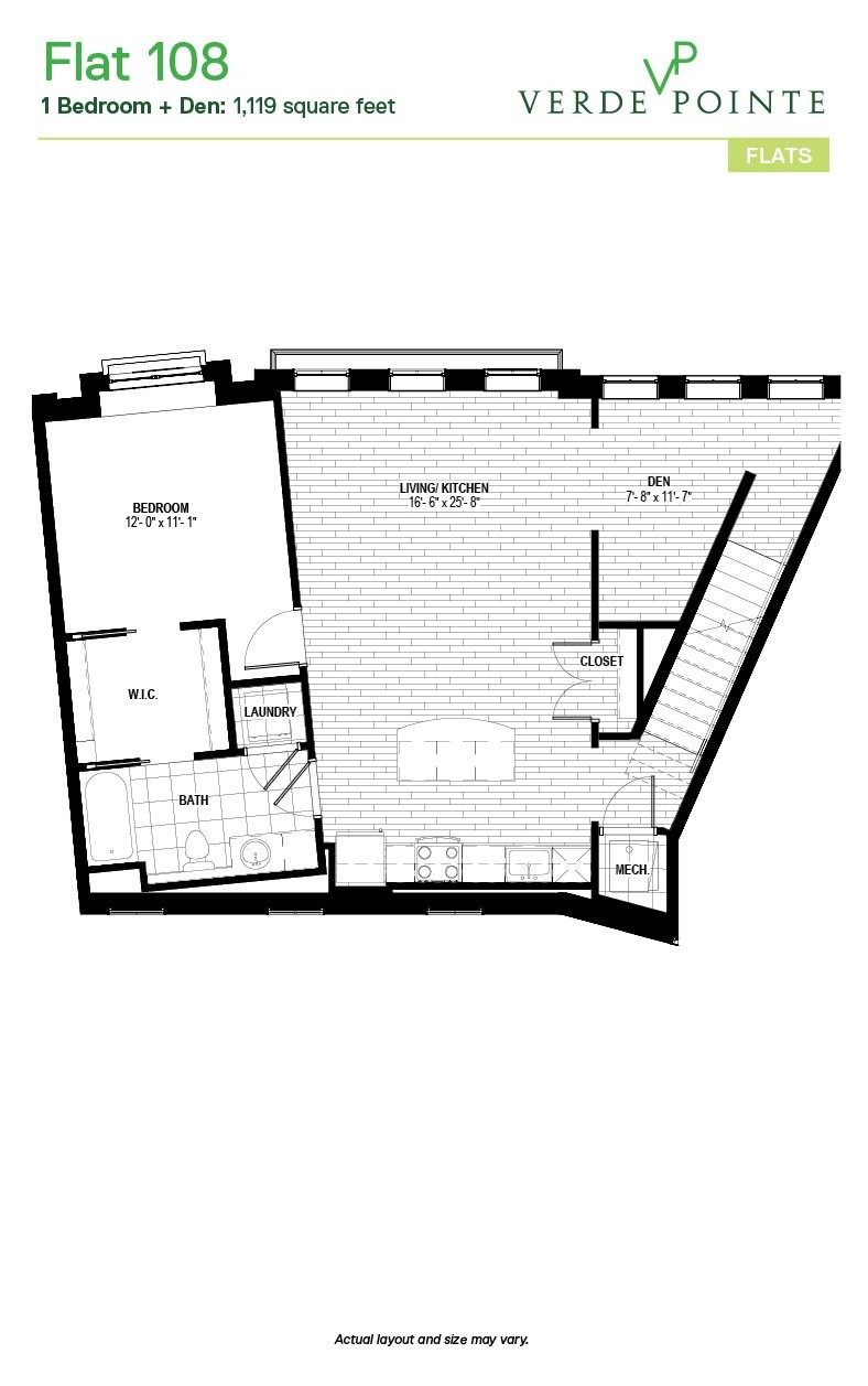 Verde Pointe - Flats -  1 bedroom - Flat 108A - 1,119 sq. ft.