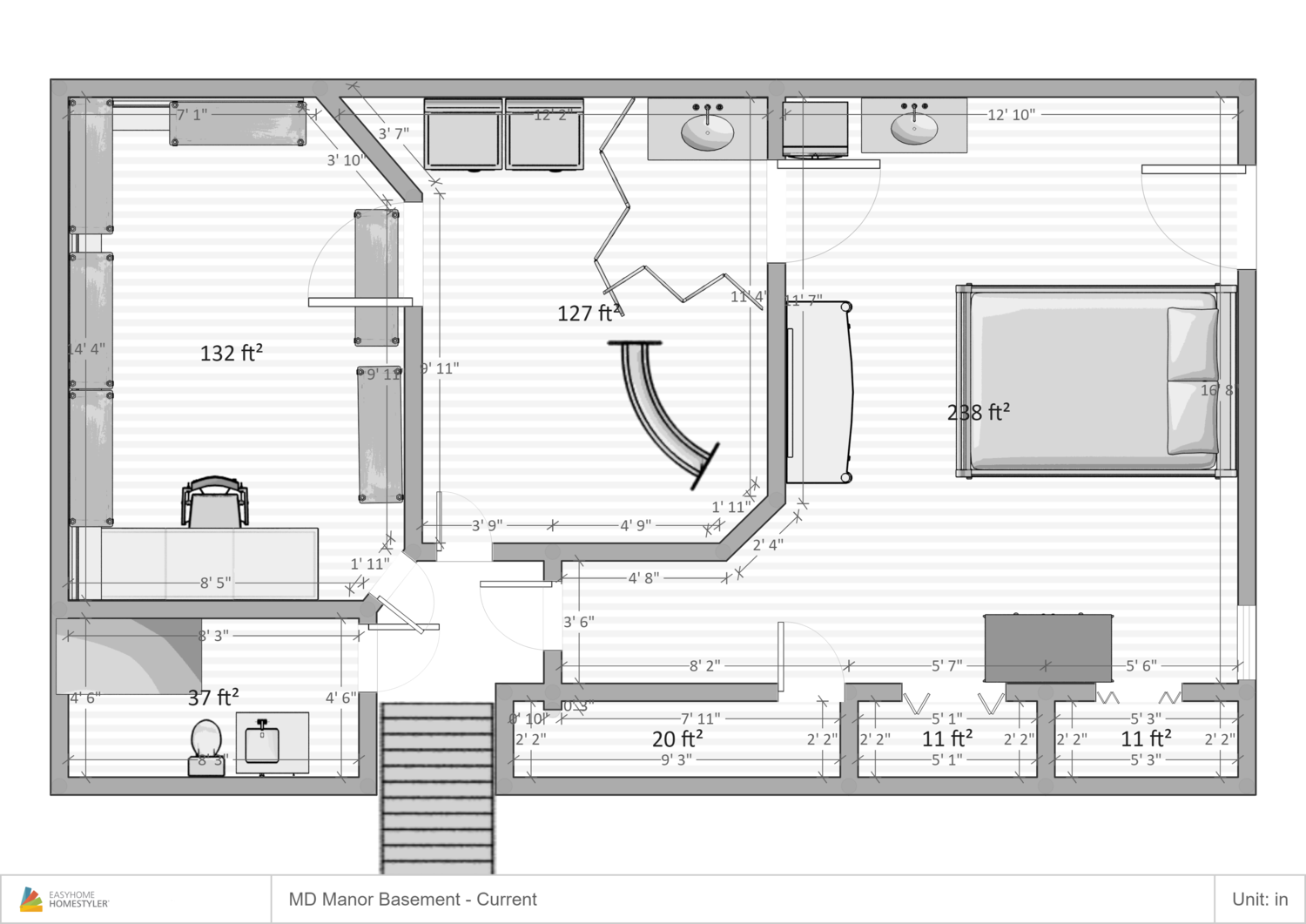 Basement Efficiency w/Private Entrance Kitchenette, private bathroom