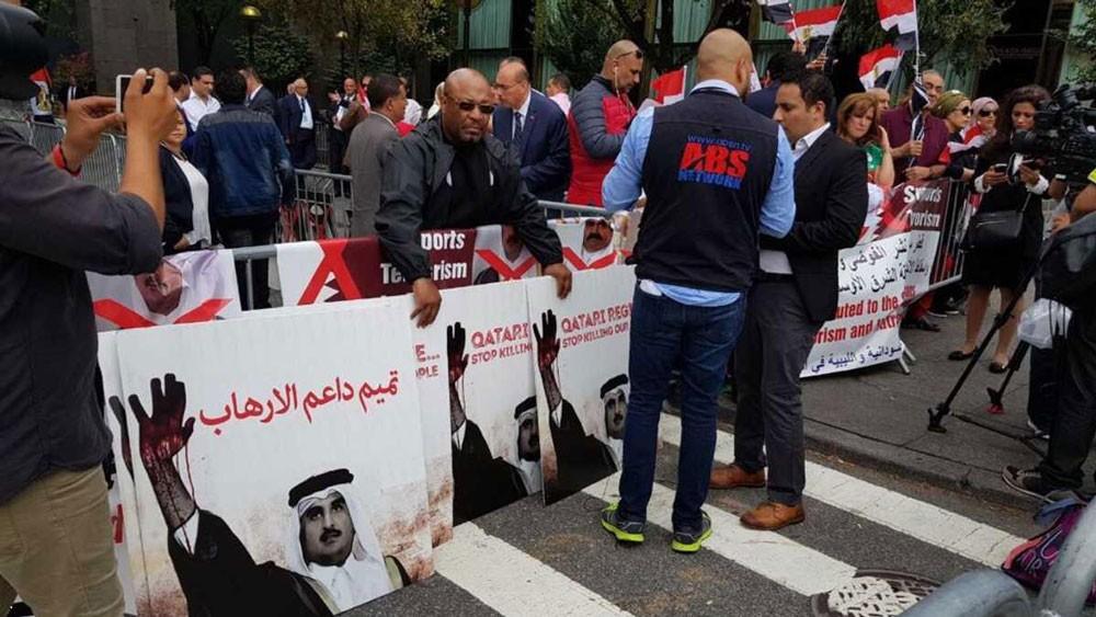 تظاهرات في نيويورك للتنديد بدعم قطر للإرهاب