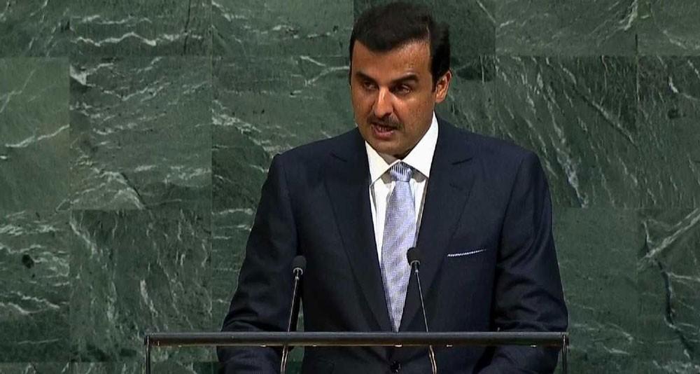 """أمير قطر يدعو من نيويورك لـ """"حوار غير مشروط"""""""