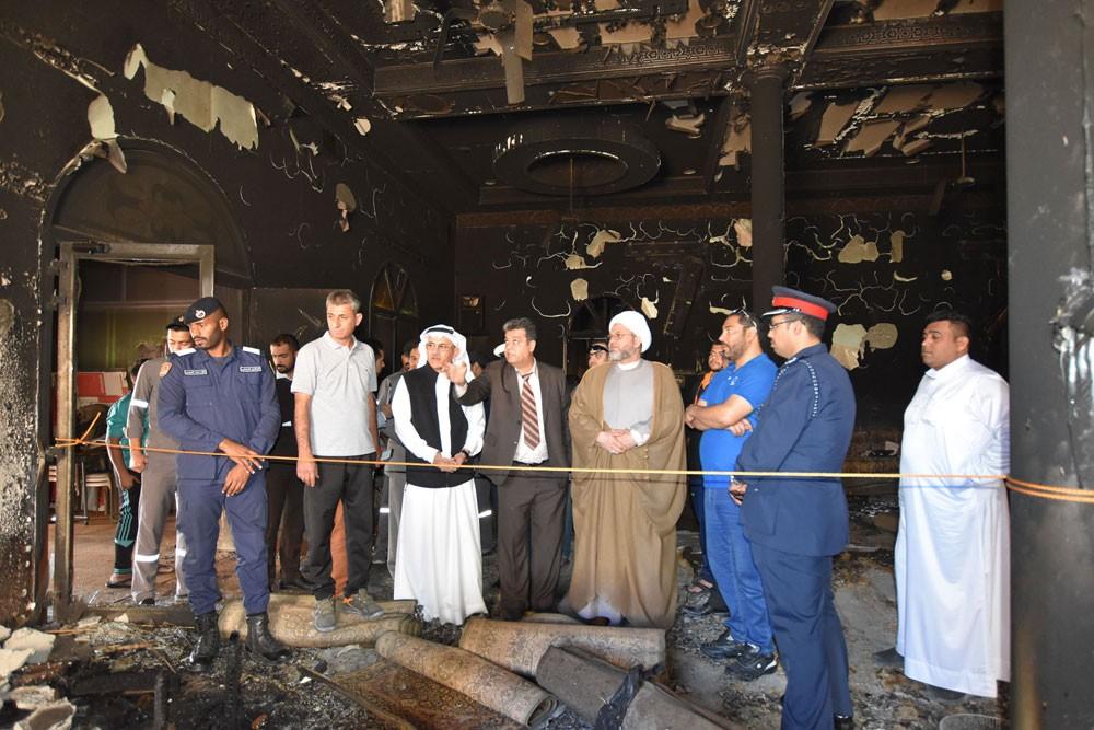 رئيس الأوقاف الجعفرية يتفقد مأتم الإمام الرضا في المالكية إثر تعرضه لحريق