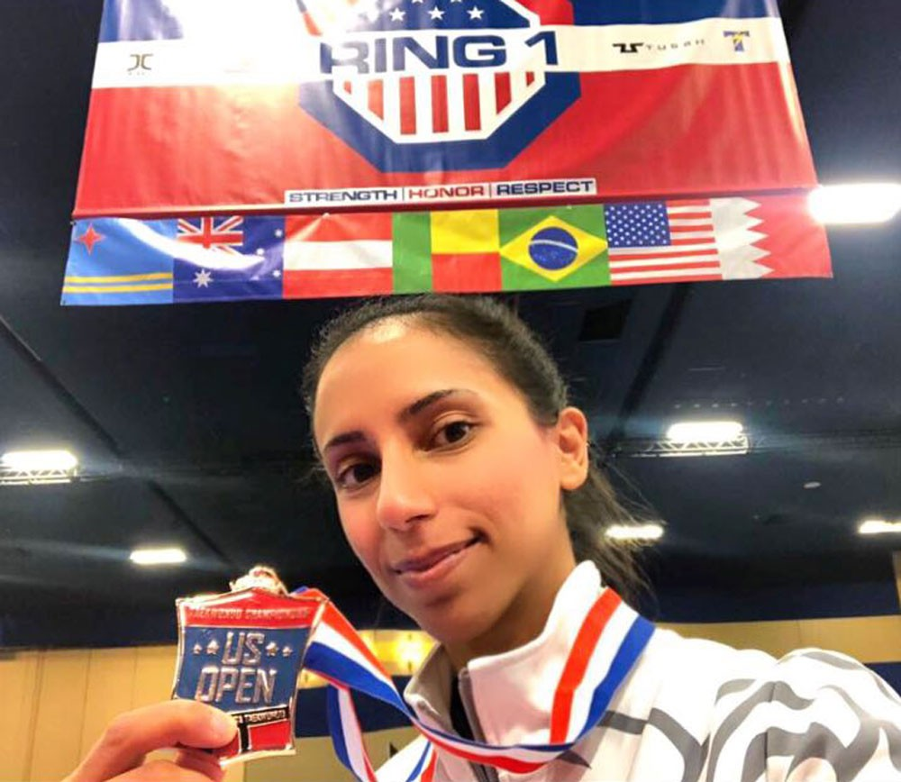 فجر البنعلي تحصد برونزية بطولة أميركا الدولية المصنفة نجمتين للتايكوندو