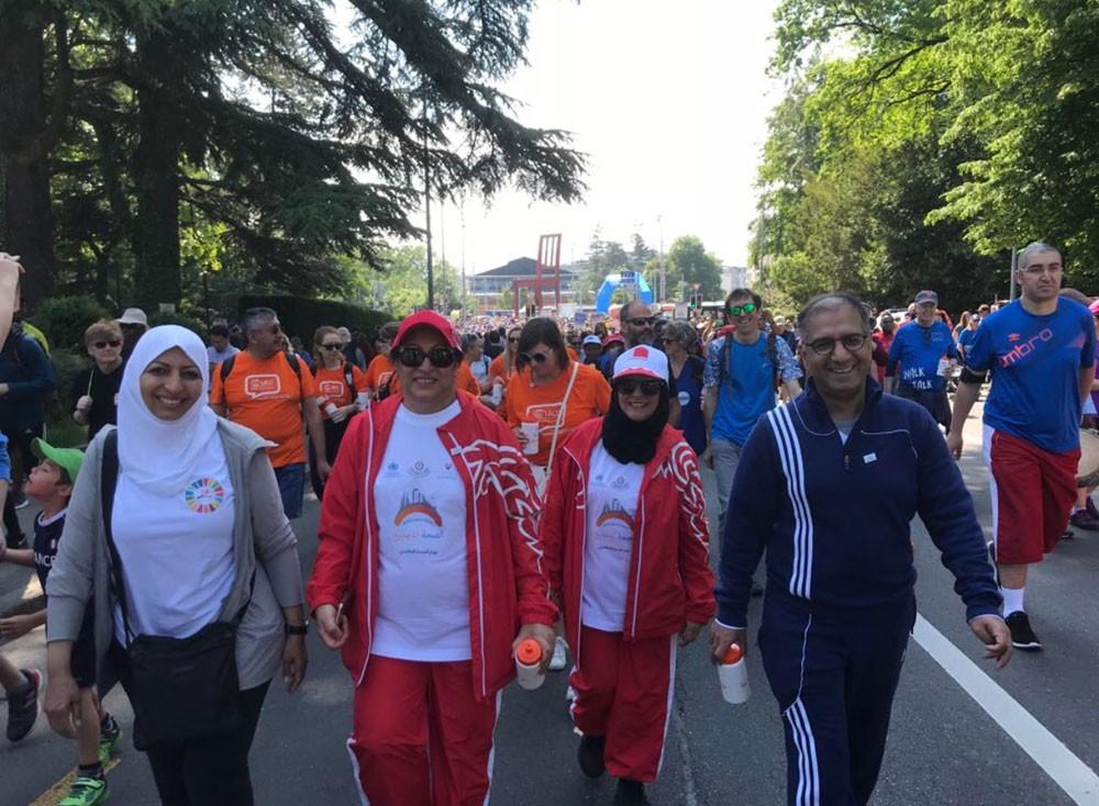 """الوزيرة """"الصالح"""" والوفد المرافق يشارك في فعالية اليوم الرياضي بجنيف"""