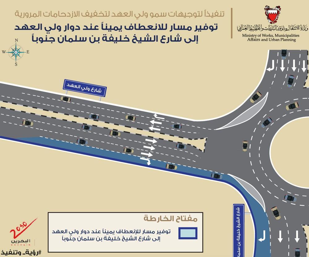 الأشغال: مسار للدوران لليمين عند دوار ولي العهد إلى شارع الشيخ خليفة بن سلمان جنوباً