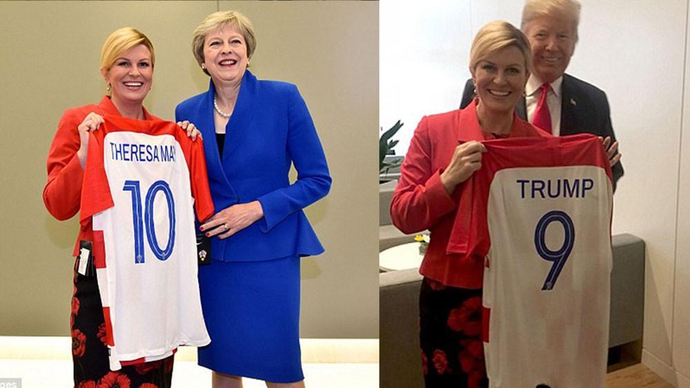 هذا ما فعلته رئيسة كرواتيا مع ترمب وتيريزا ماي