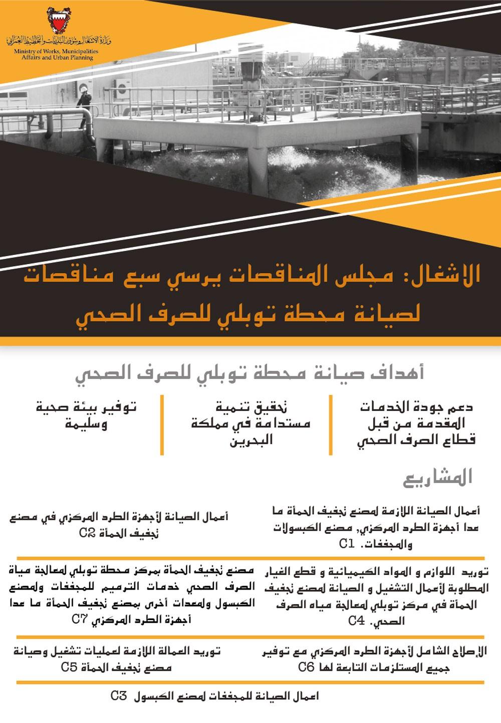 الاشغال: توقيع سبع مناقصات لتشغيل وصيانة مصنع تجفيف الحمأة في مركز توبلي لإنتاج المياه المعالجة