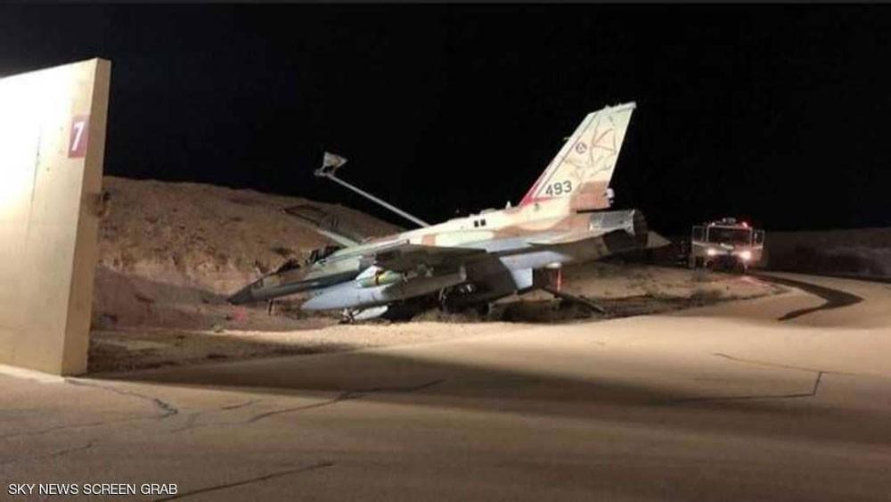 """مقاتلة """"إف 16"""" كادت تتسبب بكارثة في قاعدة إسرائيلية"""