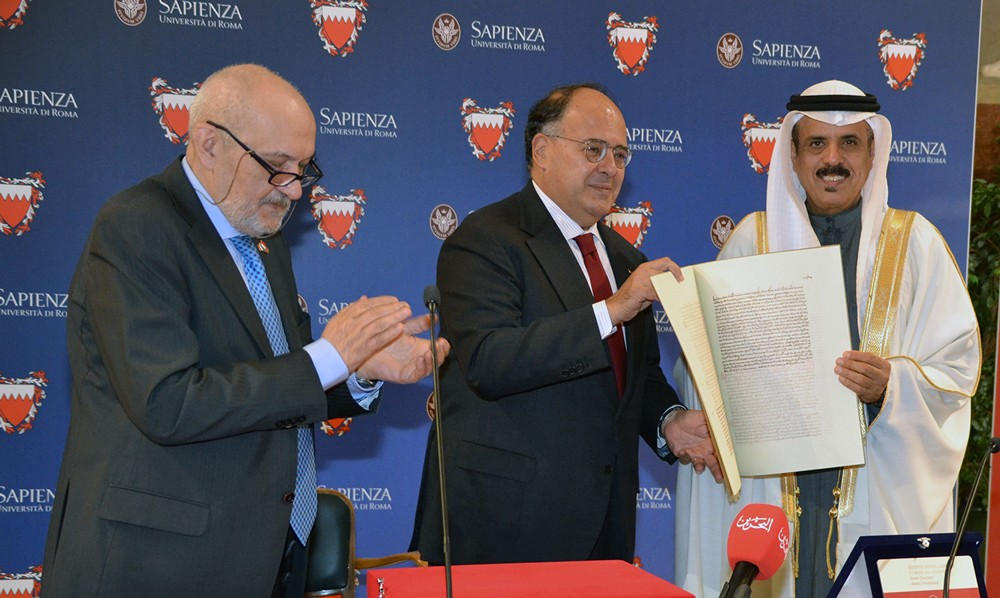تدشين كرسي الملك حمد للحوار بين الأديان بجامعة سابينزا الإيطالية