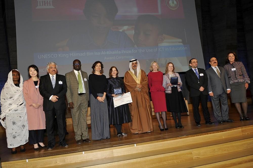 تسليم جائزة اليونسكو- الملك حمد لاستخدام تكنولوجيات المعلومات والاتصال في مجال التعليم