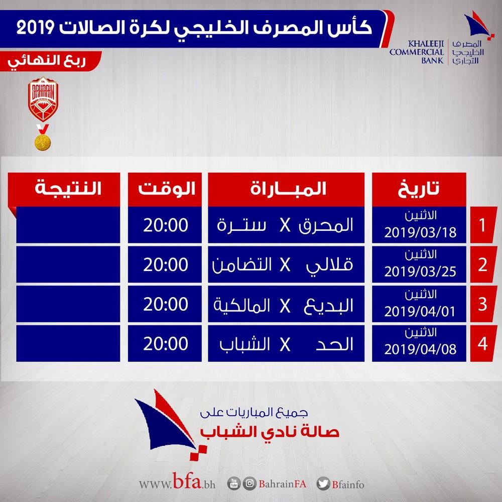 انطلاق ربع نهائي كأس المصرف الخليجي التجاري لكرة الصالات