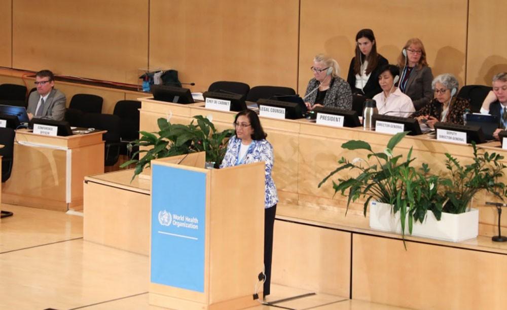 الصالح تلقي بيان البحرين خلال اجتماعات جمعية الصحة العالمية الـ 72 بجنيف