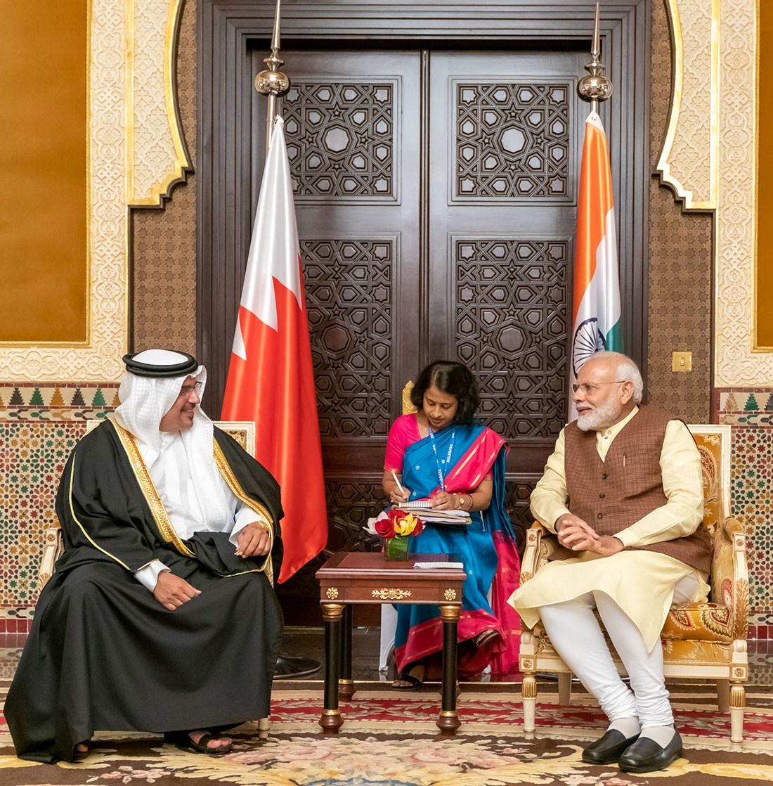 سمو ولي العهد يؤكد الحرص على مواصلة تعزيز التعاون بين البحرين والهند على كافة المستويات