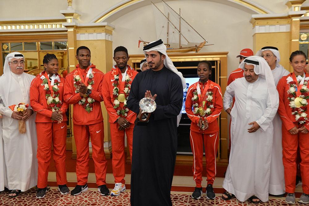 الأولمبية تحتفي بأبطال العالم لألعاب القوى باستقبال رسمي وشعبي متميز