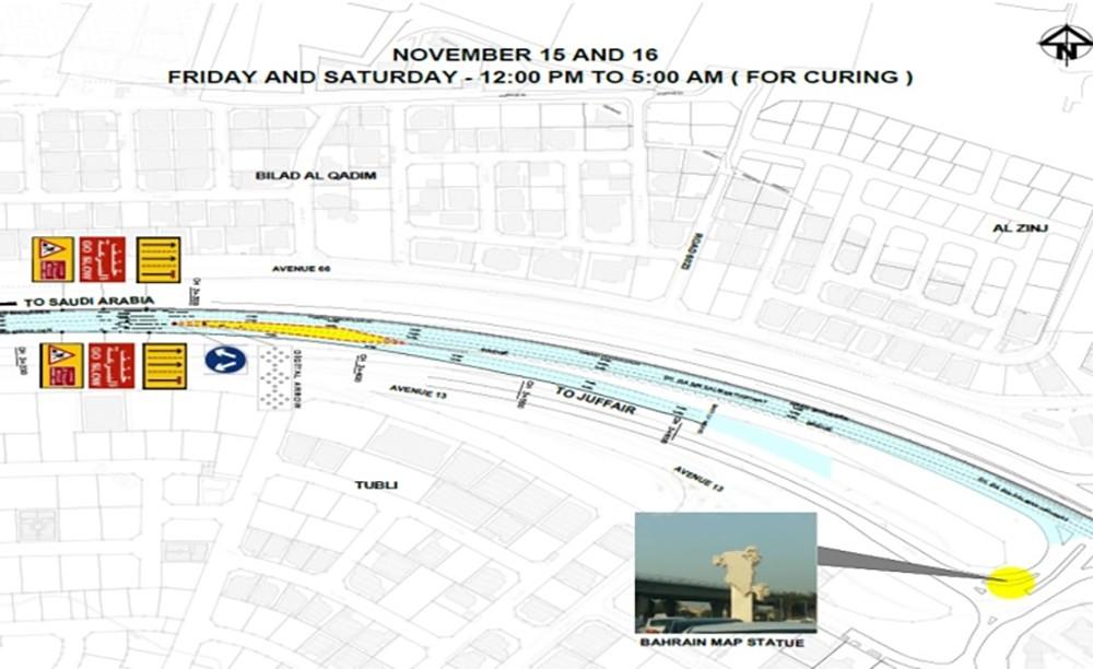 غلق شارع سلماباد الخارجي باتجاه عالي وغلق مسارات على شارع الشيخ عيسى بن سلمان