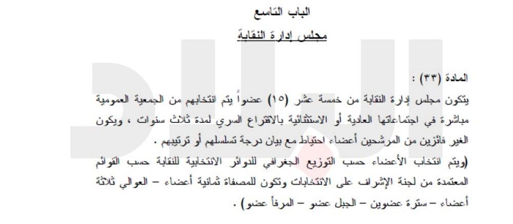 عدد أعضاء مجلس ادارة النقابة وفقا للنظام الأساسي