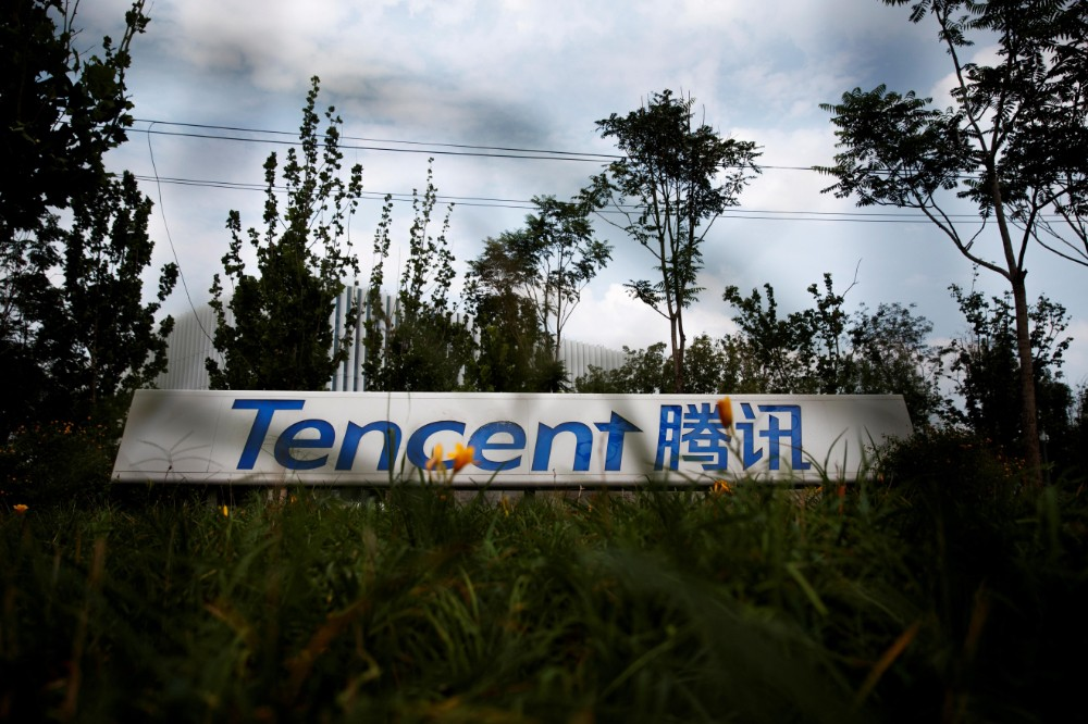 A logo of a Chinese tech firm Tencent, owner of a messaging app WeChat, is pictured in Beijing, China August 7, 2020.(Reuters)