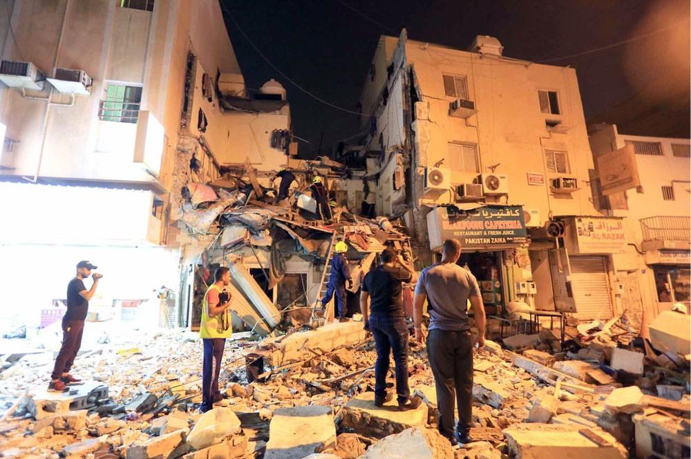 وقوع 32 مصابا جراء انهيار مبنى قديم في المنامة