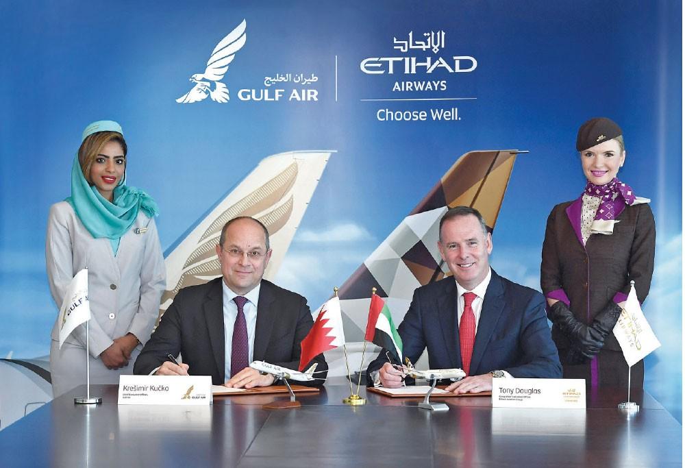 """""""طيران الخليج"""" و""""الاتحاد"""" توقعان شراكة بـ """"الرمز"""""""